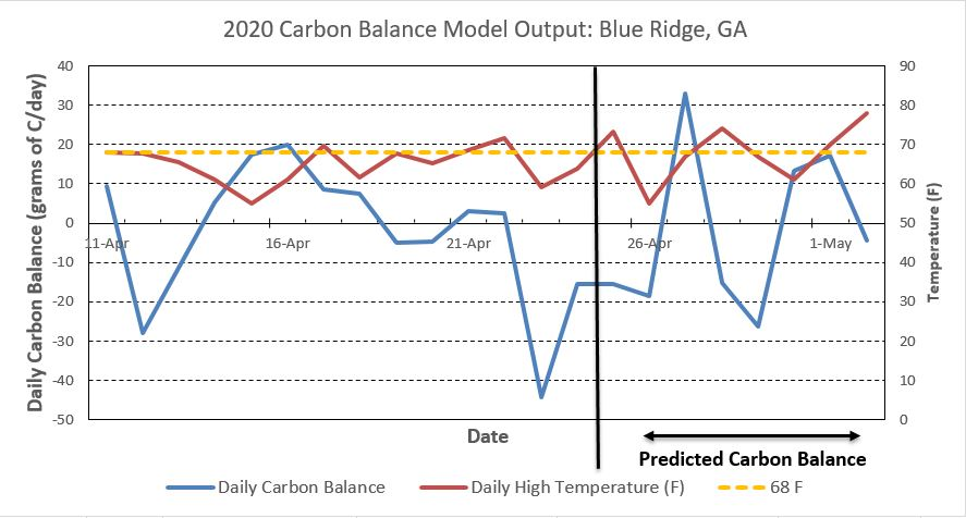Carbon balance model for Blue Ridge, GA