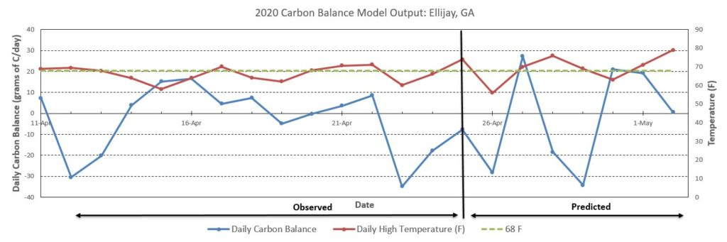 Carbon balance chart for Ellijay, GA